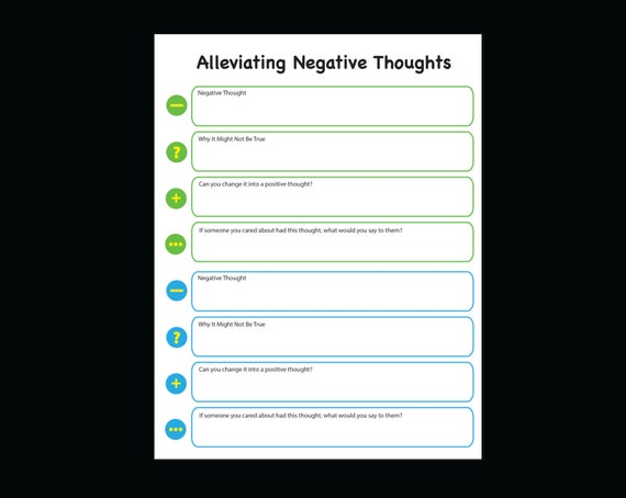 Negative to Positive Thoughts Journal Printable Worksheet Anxiety ...