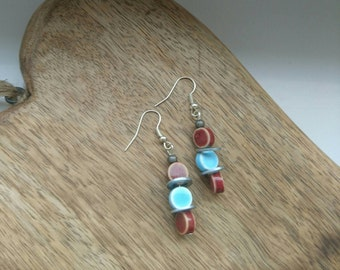 Red and Blue Cosmic Drop Earrings