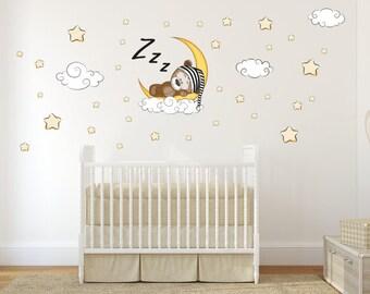 087 Wandtattoo Teddy on Moon Star Cloud sleeping baby wall decoration * nikima * in 6 verse. Sizes