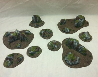 Wargame Scenery 28mm Terrain Set 9pc Rock Outcroppings Warhammer Warmachine D&D Malifaux