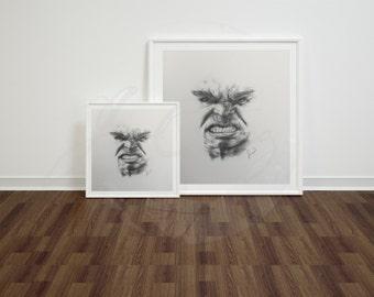 Hulk Pencil Drawing Print
