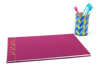 Hardback Stab Bound Sketchbook or Journal - Raspberry Bookcloth and Yellow Linen Thread
