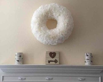 White Fluffy Coffee Filter Wreath/ Christmas Wreath