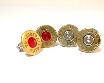 Bullet Jewelry- 45 Caliber Brass Bullet Earrings Studs