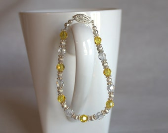 Swarovski crystal and sterling silver bracelet, yellow and crystal bracelet