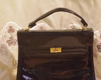 Black Vinyl Valerie Stevens Handbag