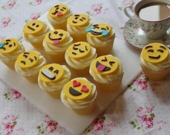 12 Emoji Fondant Cupcake Toppers