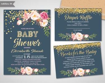 Baby Shower Invitation,Girl Baby Shower Invitation,Confetti Baby Shower Invitation,Printable baby shower invite,Girl and boy baby shower set