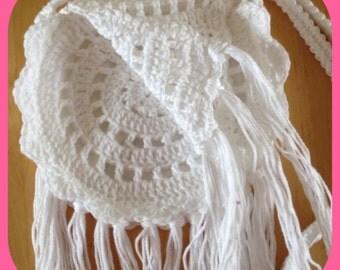 Crochet Boho bag with tassels, white