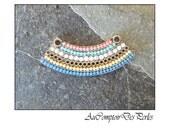 1 pendentif arc or antique, multi-couleur 42x16mm