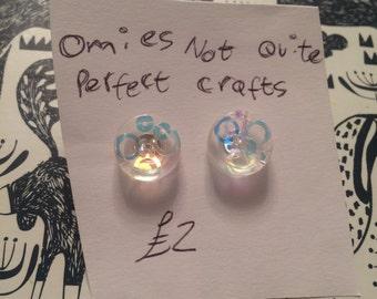 Irridesent button resin earrings
