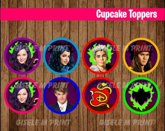 Descendants cupcakes toppers, Printable Descendants toppers, Descendants party toppers instant download