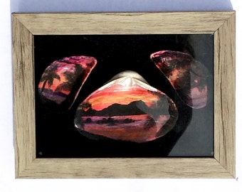 Sunset Painting On 3 Sea Shells Set Into A Shadow Box