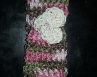 Newborn Baby Girl Camouflage Crochet Headband with heart.