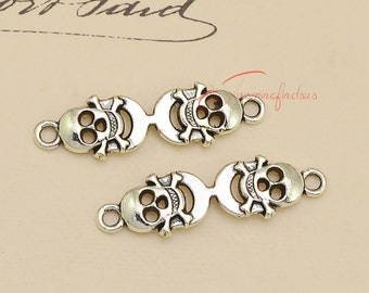 20PCS--35x10mm , Skull connector Charms, Antique Silver Tone Skull connector Charm , DIY Findings, Jewelry Making JAS0552