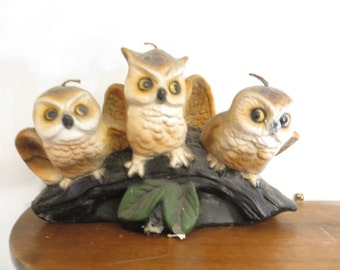 Vintage Three Owlets Wax Candle. 3 wicks and ready for use  w/ free ship