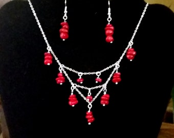 Coral Pebbles Necklace and Earrings set (P28)