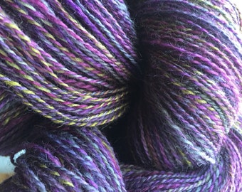 574 Yards - Handspun yarn Poison and Wine BFL