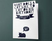 Cat Joke funny birthday card - Perfect for friends, Cat Lovers, Cat Ladies, quirky cat people in general!