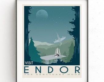 Endor poster. Starwars retro travel. Forest moon Endor. New hope. Death star. Empire strikes back. Speeder bike tours. Stoormtrooper
