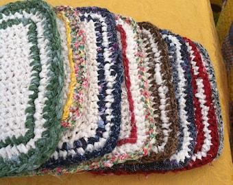 Crocheted, natural trivet, 100 percent cotton