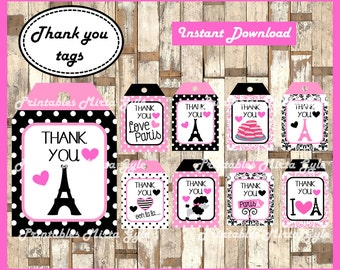 Paris Thank you Tags, printable Paris party Thank you Tags, Paris Thank you Tags