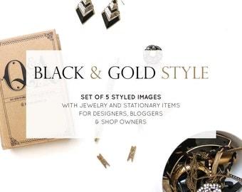 Set of 5 Photos: Styled Stock Photos | Desk Flatlay Gold and Black Minimalist | Photography Digital Image