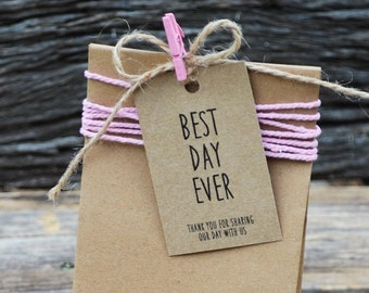 Best Day Ever Printable Favor Gift Tag PDF, Instant Download, Wedding Printable Favor Tags.