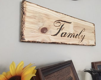 Wood wall Sign, Family Burnt Wood Sign, Family Word Art