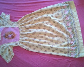 Long, Vintage Girl's Dress with Girl Walking a Duck **FREE SHIPPING**