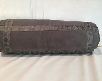 Hand made decorativr luxury Suade leather bolster pillow neck pillow