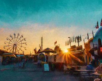 Carnival at Sunset 2 Landscape Photography, Wall Art, Carnival Print, Ferris Wheel, County Fair Decor