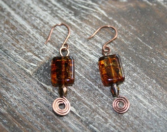 Handcrafted Copper Czech Glass Dangle Earrings