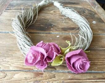 Natural Necklace Spring Pink Linen Rose - Linen Necklace