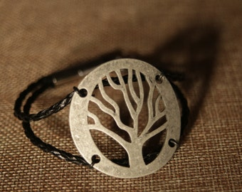 Tree of Life Bracelet with Braided Leather Band and Magnetic Clasp