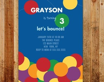 Bounce House Birthday Party Invitation | Bouncing Balls!