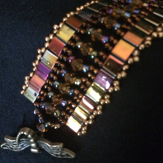 No 41 Hand woven Glass and crystal bracelet