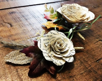 Paper Flower Boutonniere- fall themed
