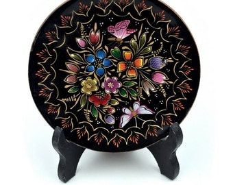 Hand Painted Mexican Gold Lacquer & Wooden Plate w/ Black High Gloss Display Stand