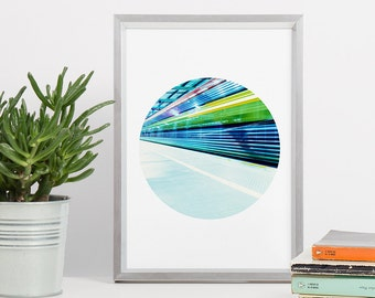 Printable Wall Art - Blue Abstract Circle Printable Art - Print Circle - DIN A4 - Gift for Him - Git for Coworker - Abstract Picture