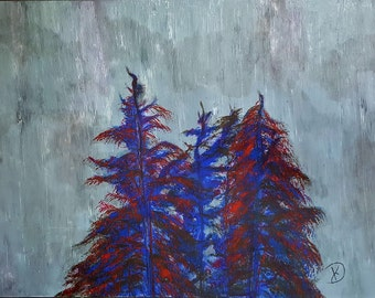 Original Acrylic Palette Knife Painting of Trees