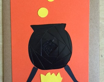 Halloween Cauldron Iris folding card