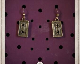 CASSETTE tapes bronze earrings audio retro BOB018