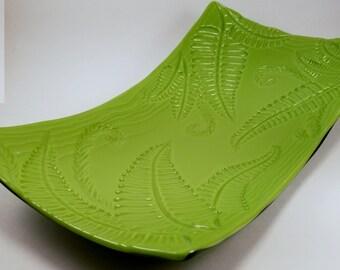Green Fern Serving Platter