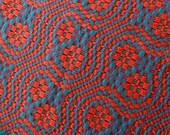 Hand Woven Table Runner Handwoven Cotton Wool Red Orange Cinnabar Dark Green Overshot Dresser Scarf