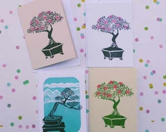 Bonsai card / Blank card / Original Print / Greeting card / Hand print