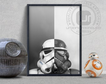 Stormtrooper Shadow trooper - PRINTABLE ART, star wars print, geek art, digital art, wall decor, art prints, rogue one, movie poster, helmet