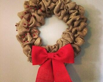 Burlap berry holiday wreath