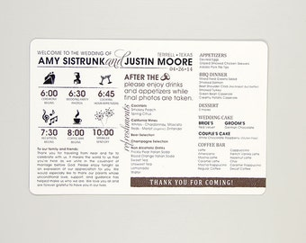 Rustic Wedding Day Timeline and Dinner Menu Card // Wedding Weekend Timeline // Reception Menu