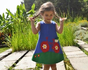 Bicycle Dress,Bicycle Applique,Bike Dress,Girls Bike,Summer Dress,Choose Color and Sleeve Length -girl's dress-toddler dress -Handmade dress